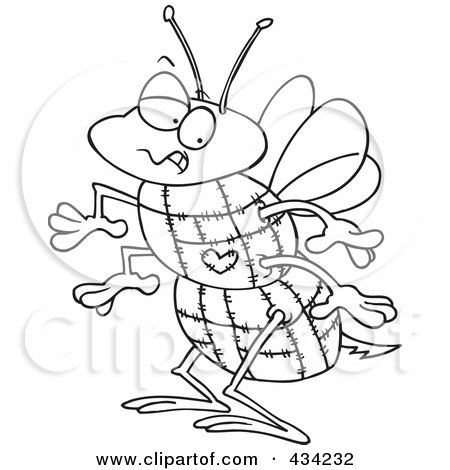 Line Art of a Quilted Bee Posters, Art Prints