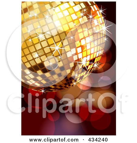 Royalty-Free (RF) Clipart Illustration of a Golden Disco Ball Over Sparkles by MilsiArt