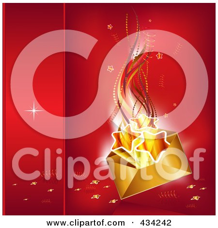 Royalty-Free (RF) Clipart Illustration of a Golden Christmas Envelope With Stars Over Red by MilsiArt