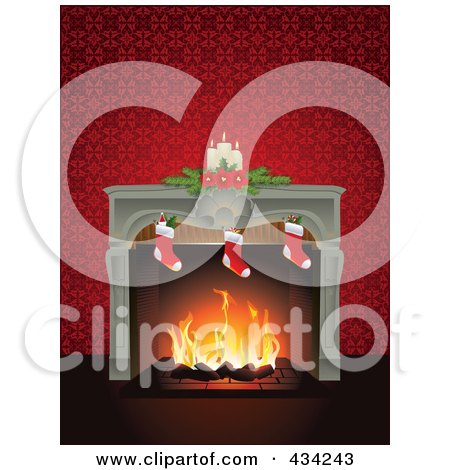 Royalty-Free (RF) Clipart Illustration of a Fire Burning In A Fireplace Adorned With Christmas Stockings And Candles, With A Red Wall by Eugene