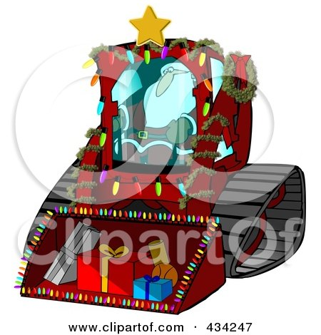 Santa Operating A Bobcat Machine With Gifts In The Bucket Posters, Art Prints