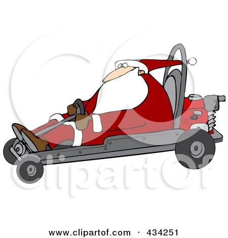 Royalty-Free (RF) Clipart Illustration of Santa Operating A Go Kart by djart