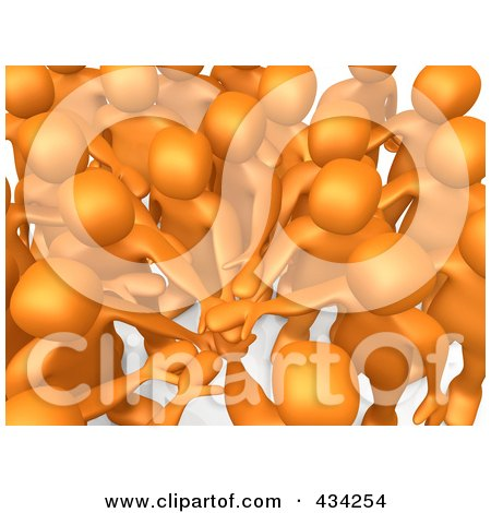 Royalty-Free (RF) Clipart Illustration of a Team of 3d Orange People With Their Hands All In by 3poD