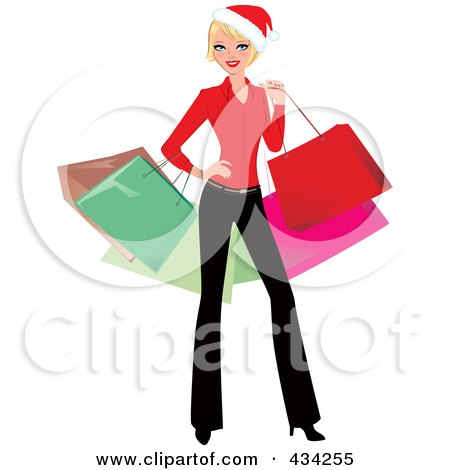 Royalty-Free (RF) Clipart Illustration of a Blond Christmas Woman Posing And Carrying Colorful Shopping Bags by Monica