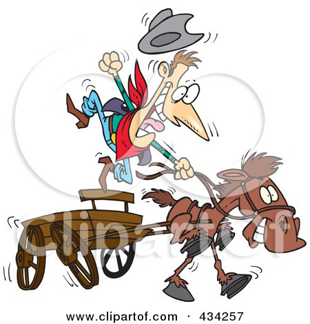 Mustang Horse Running Fast with Cowboy - Royalty Free Clip Art Picture