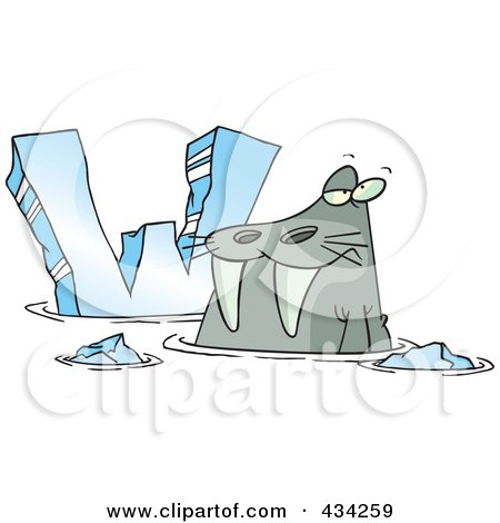 Royalty-Free (RF) Clipart Illustration of a Cartoon Walrus And Letter W by toonaday