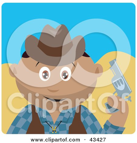 Clipart Illustration of a Hispanic Cowboy Kid Holding A Pistil by Dennis Holmes Designs