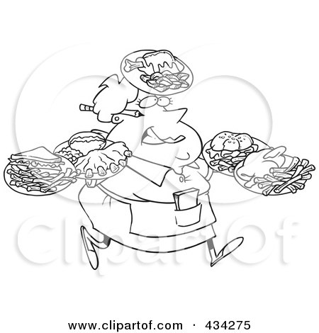 Royalty-Free (RF) Clipart Illustration of a Line Art Design Of A Fat Female Waitress Carrying Many Plates by toonaday