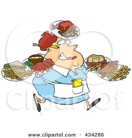 Royalty-Free (RF) Clipart Illustration of a Fat Female Waitress Carrying Many Plates by toonaday