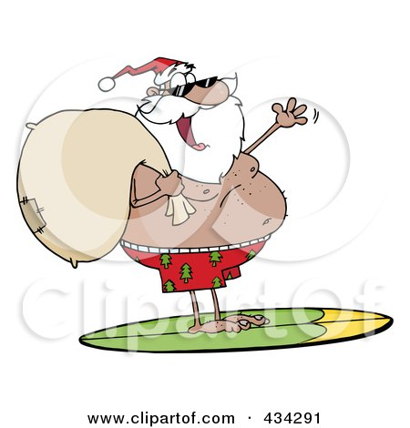 Royalty-Free (RF) Clipart Illustration of a Black Santa Surfing - 1 by Hit Toon