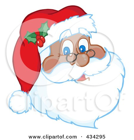 Royalty-Free (RF) Clipart Illustration of a Black Santa Face by Hit Toon