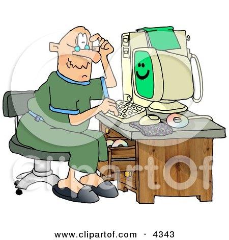 Puzzled Grandpa Using a Computer Posters, Art Prints