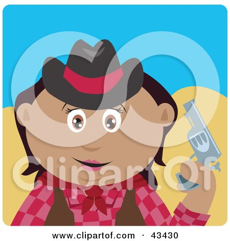 Clipart Illustration of a Hispanic Cowgirl Holding Up A Pistil by Dennis Holmes Designs