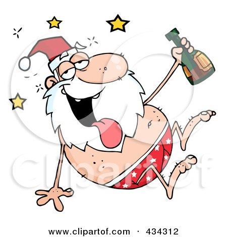 Royalty-Free (RF) Clipart Illustration of a Drunk Santa - 2 by Hit Toon
