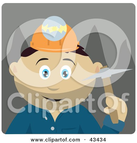 Clipart Illustration of a Mexican Miner Man Wearing A Headlamp And Holding A Pickaxe by Dennis Holmes Designs