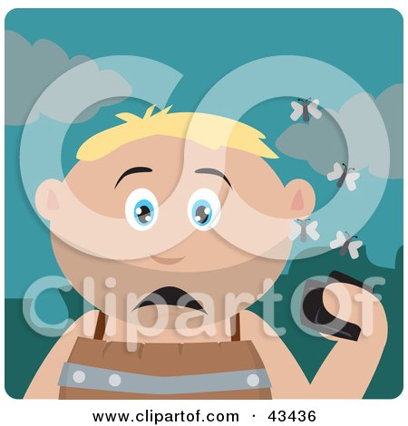 Clipart Illustration of a Caucasian Boy Holding A Wallet And Being Surrounded By A Swarm Of Moths by Dennis Holmes Designs