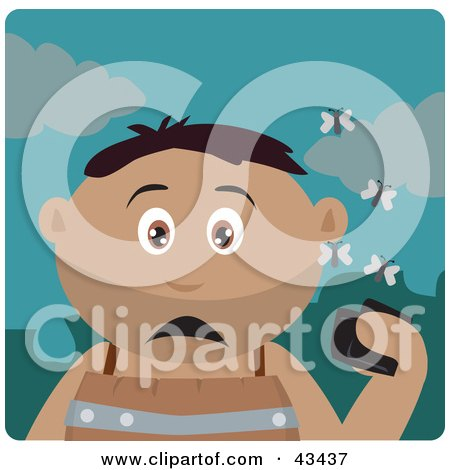Clipart Illustration of a Hispanic Boy Holding A Wallet And Being Surrounded By A Swarm Of Moths by Dennis Holmes Designs