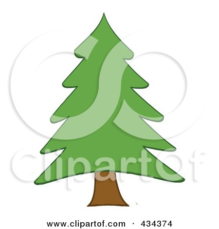 Royalty-Free (RF) Clipart Illustration of a Pine Tree - 2 by Hit Toon