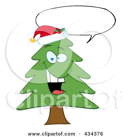 Royalty-Free (RF) Clipart Illustration of a Pine Tree - 6 by Hit Toon