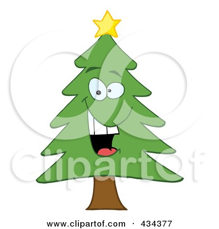 Royalty-Free (RF) Clipart Illustration of a Pine Tree - 4 by Hit Toon
