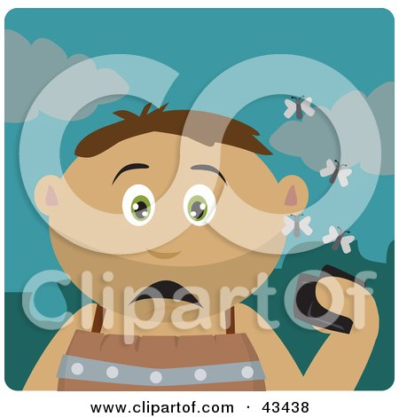 Clipart Illustration of a Latin American Boy Holding A Wallet And Being Surrounded By A Swarm Of Moths by Dennis Holmes Designs