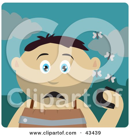 Clipart Illustration of a Mexican Boy Holding A Wallet And Being Surrounded By A Swarm Of Moths by Dennis Holmes Designs