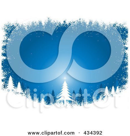Royalty-Free (RF) Clipart Illustration of a Blue Christmas Tree Background In The Woods With A White Grunge Border by KJ Pargeter