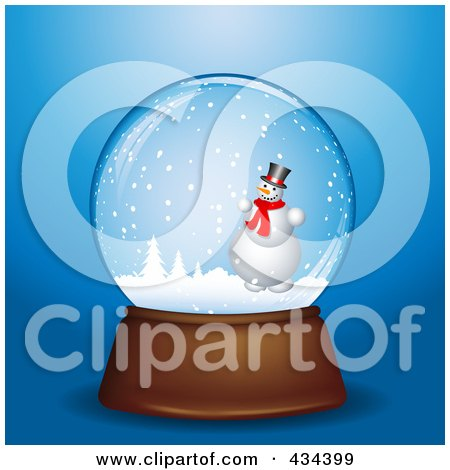 Royalty-Free (RF) Clipart Illustration of a Digital Collage Of A Snowman In A Winter Snowglobe by KJ Pargeter