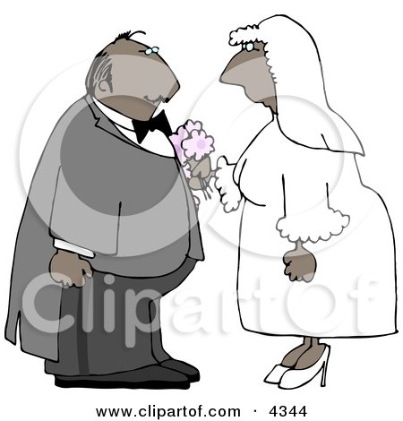 Ethnic Male and Female Couple Getting Married Clipart by djart