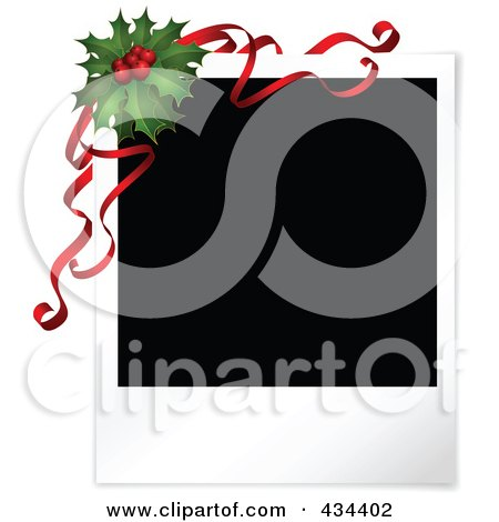 Royalty-Free (RF) Clipart Illustration of a Blank Polaroid Picture With Christmas Holly And Red Ribbons by KJ Pargeter