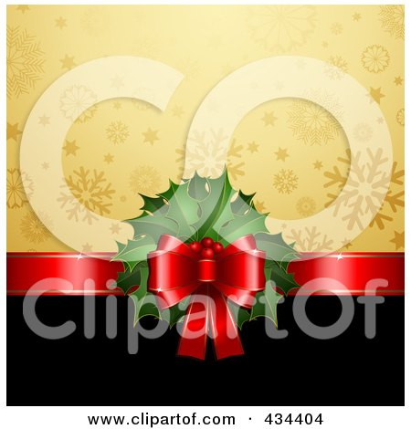 Royalty-Free (RF) Clipart Illustration of a Red Ribbon With Christmas Holly Dividing A Gold Snowflake And Black Background by KJ Pargeter