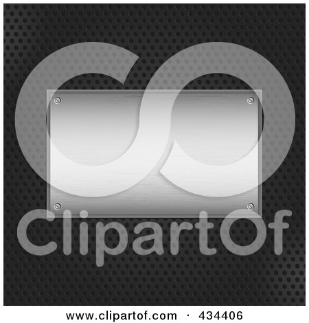 Royalty-Free (RF) Clipart Illustration of a Brushed Metal Plaque On A Black Grid Background by KJ Pargeter
