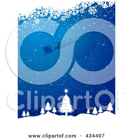 Royalty-Free (RF) Clipart Illustration of a Blue Christmas Background Of Santa Flying Over The Moon Abouve A Tree In The Woods, With White Snowflake Grunge by KJ Pargeter