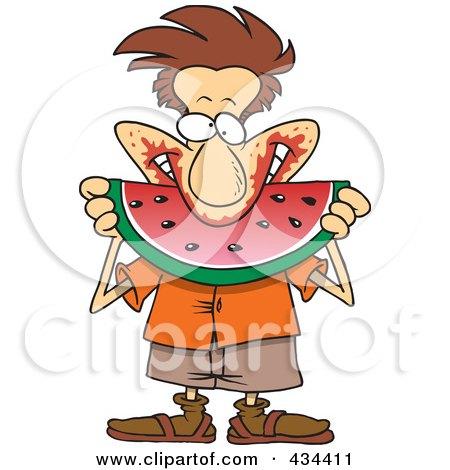 Messy Man Eating Watermelon Posters, Art Prints
