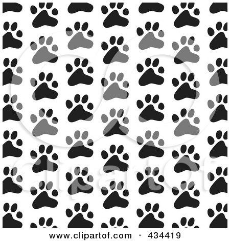 Royalty-Free (RF) Clipart Illustration of a Black And White Dog Paw Print Pattern Background by Prawny