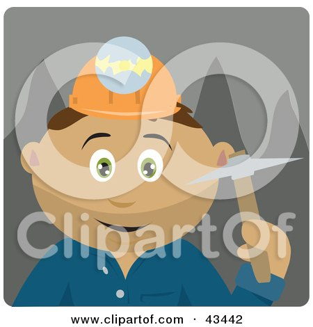 Clipart Illustration of a Latin American Miner Man Wearing A Headlamp And Holding A Pickaxe by Dennis Holmes Designs