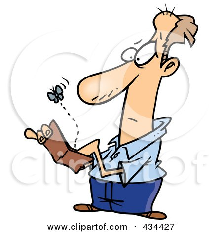 Royalty-Free (RF) Clipart Illustration of a Fly Emerging From A Broke Man's Wallet by toonaday
