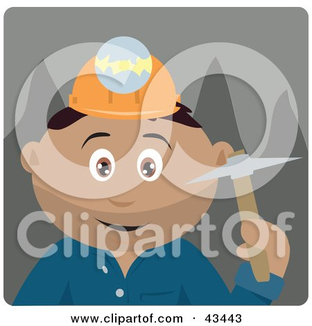 Clipart Illustration of a Hispanic Miner Man Wearing A Headlamp And Holding A Pickaxe by Dennis Holmes Designs