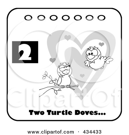 Royalty-Free (RF) Clipart Illustration of Two Black And White Turtle Doves With Text And Number Two by Hit Toon
