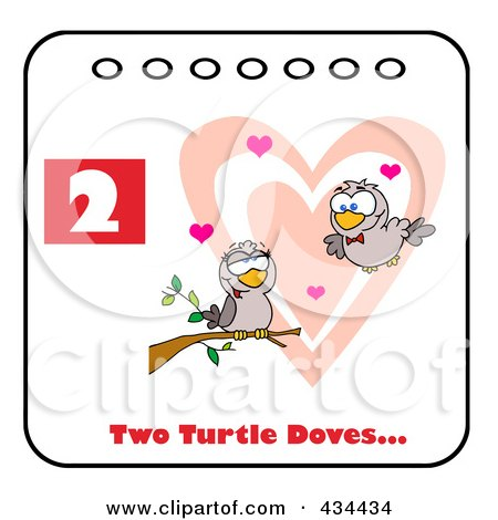 Royalty-Free (RF) Clipart Illustration of Two Turtle Doves With Text And Number Two by Hit Toon