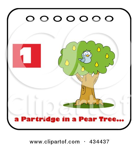 Royalty-Free (RF) Clipart Illustration of a Blue Partridge In A Pear Tree With Text And Number One by Hit Toon