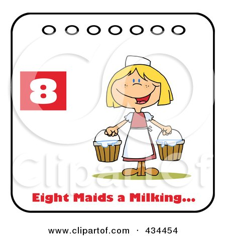 Royalty-Free (RF) Clipart Illustration of a Maid Milking On A Christmas Calendar With Text And Number Eight by Hit Toon