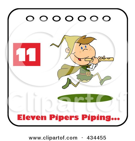 Royalty-Free (RF) Clipart Illustration of a Piper Piping On A Christmas Calendar With Text And Number Eleven by Hit Toon