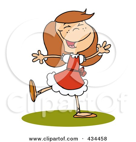 Royalty-Free (RF) Clipart Illustration of a Lady Dancing by Hit Toon