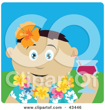 Clipart Illustration of a Mexican Man In A Hawaiian Lei, Drinking A Cocktail On Vacation by Dennis Holmes Designs