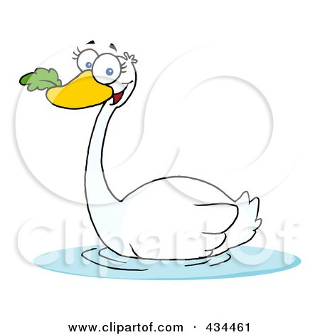 Royalty-Free (RF) Clipart Illustration of a Swan Swimming by Hit Toon