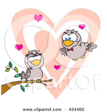 Royalty-Free (RF) Clipart Illustration of Two Turtle Doves by Hit Toon