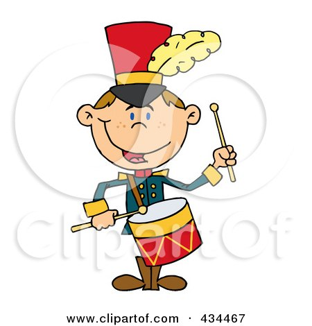 Royalty-Free (RF) Clipart Illustration of a Drummer Drumming by Hit Toon