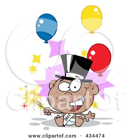 Royalty-Free (RF) Clipart Illustration of a Black New Year Baby Holding A Sparkler, With Balloons by Hit Toon