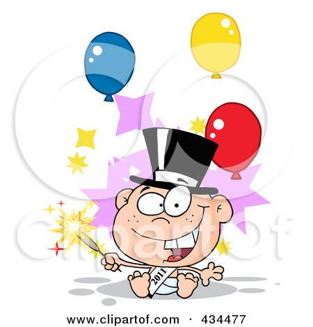 Royalty-Free (RF) Clipart Illustration of a New Year Baby Holding A Sparkler, With Balloons by Hit Toon